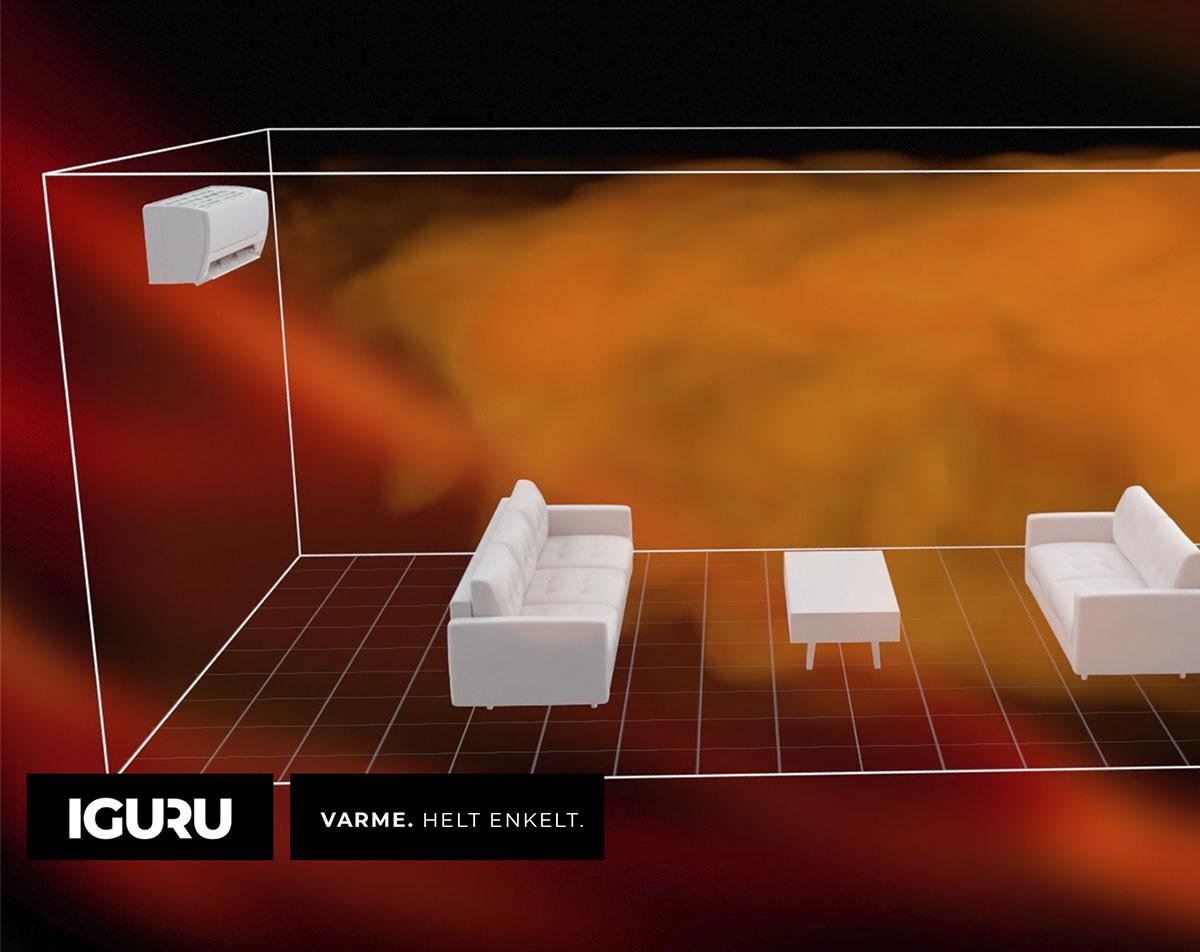 Når IGURU oppnår ønsket innetemperatur stopper utedelen å produsere varme, mens viften i innedelen fortsetter å jobbe for å fordele varmen jevnt i boligen.