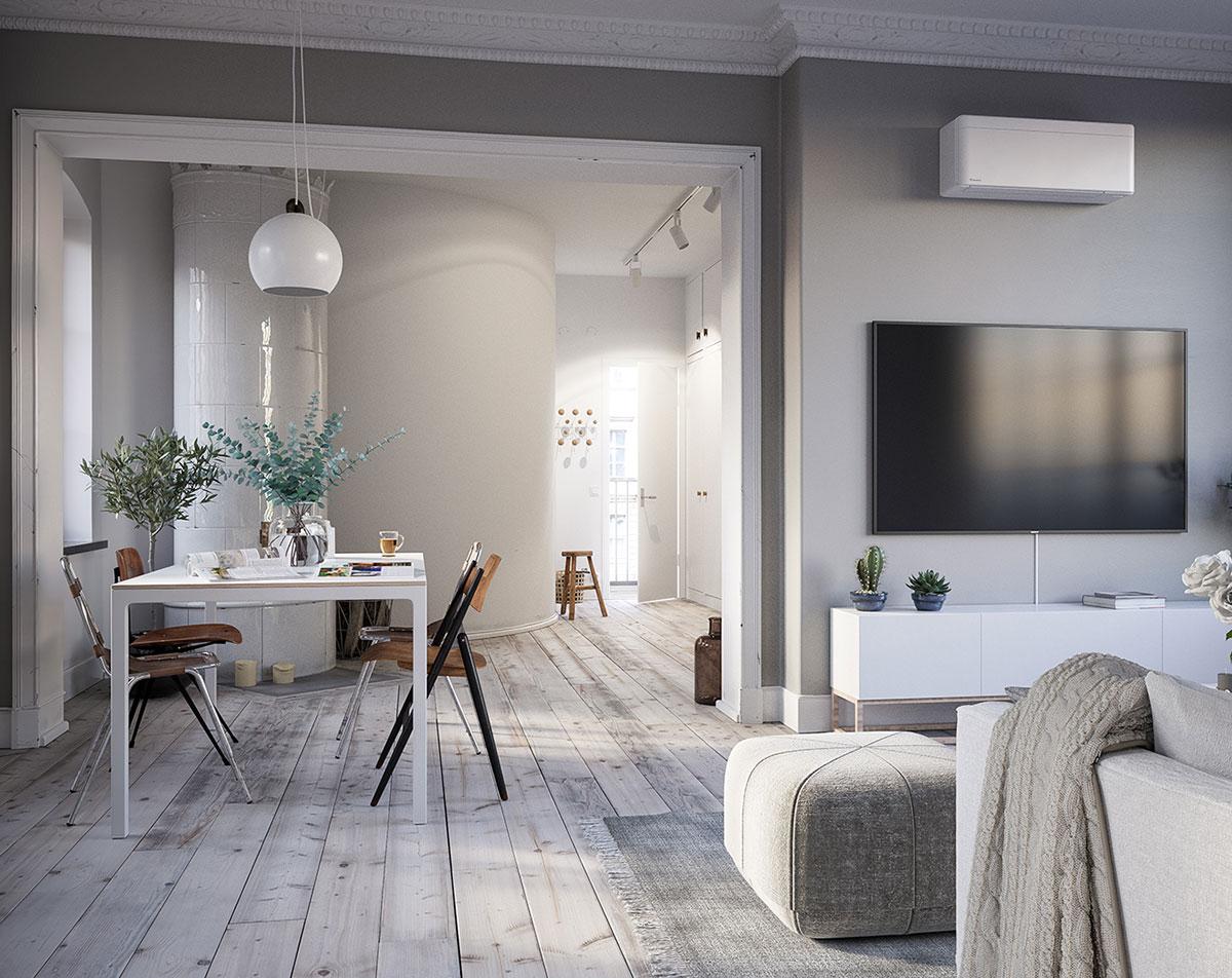 Daikin Stylish kombinerer utmerket design og teknologi for å levere en total klimaløsning for ethvert interiør. Med bare 189 mm er Stylish en av de tynneste innedelene på markedet i designsegmentet